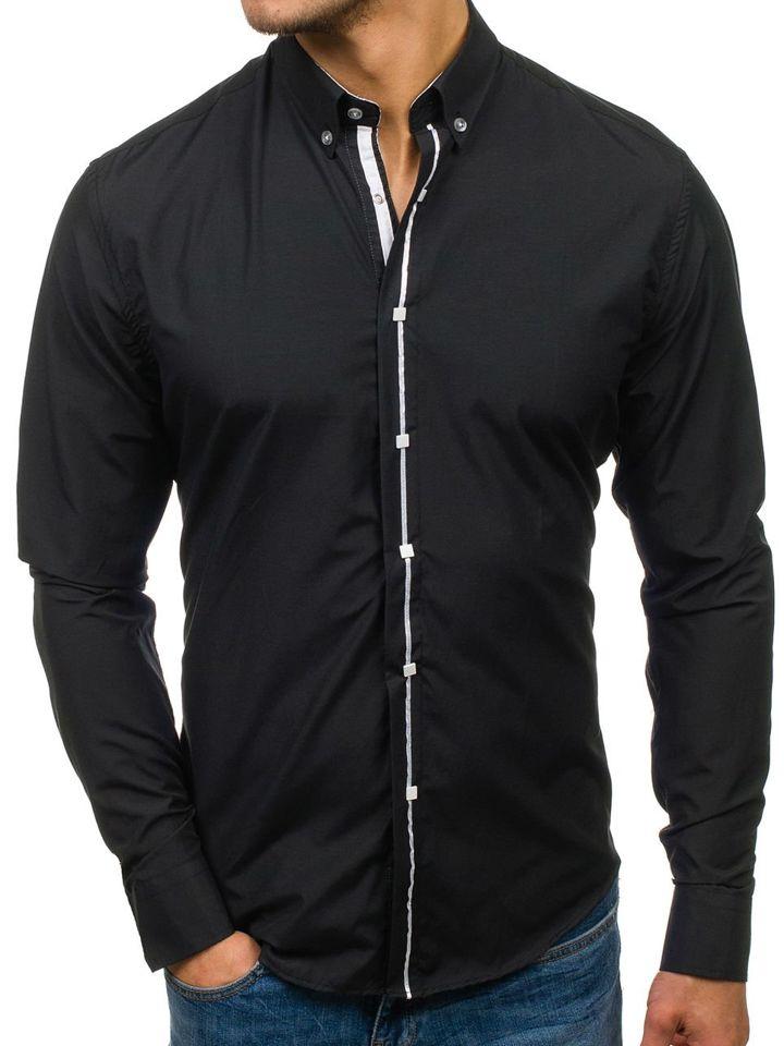 Černá pánská elegantní košile s dlouhým rukávem Bolf 7726 237e6c11bd