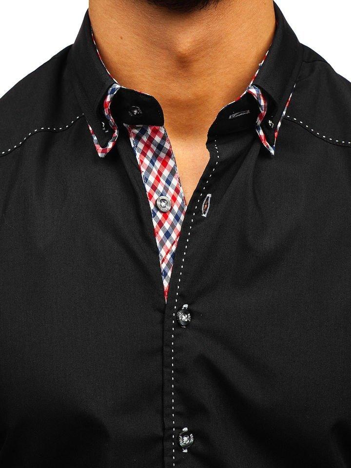 e67804a9d63 Černá pánská košile s dlouhým rukávem Bolf 3707