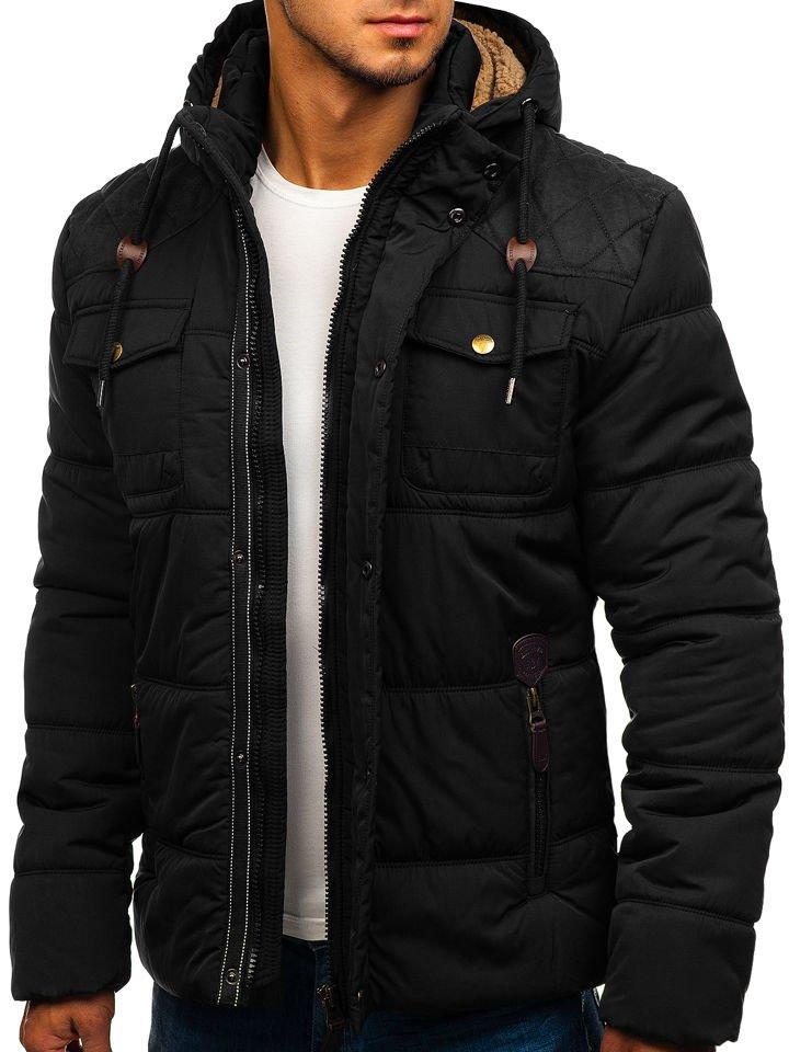 da21a1a74f9 Černá pánská zimní bunda Bolf 1665