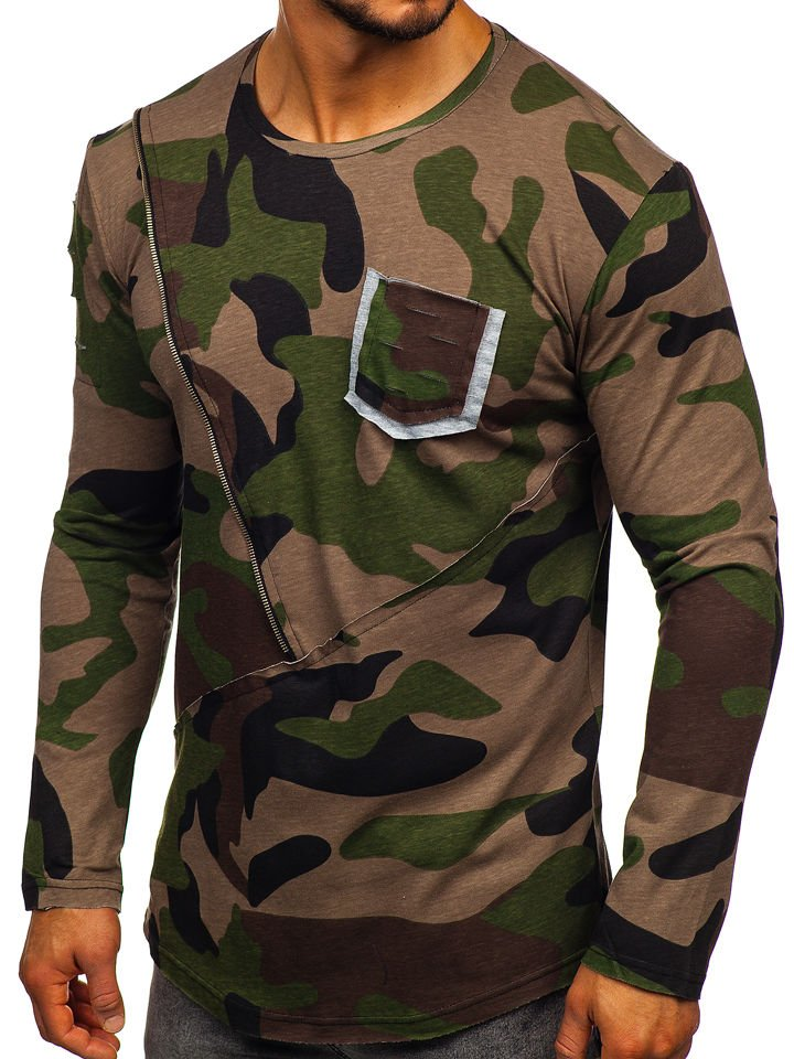 427afa9732d9 Khaki pánské maskáčové tričko s dlouhým rukávem a potiskem Bolf 1090