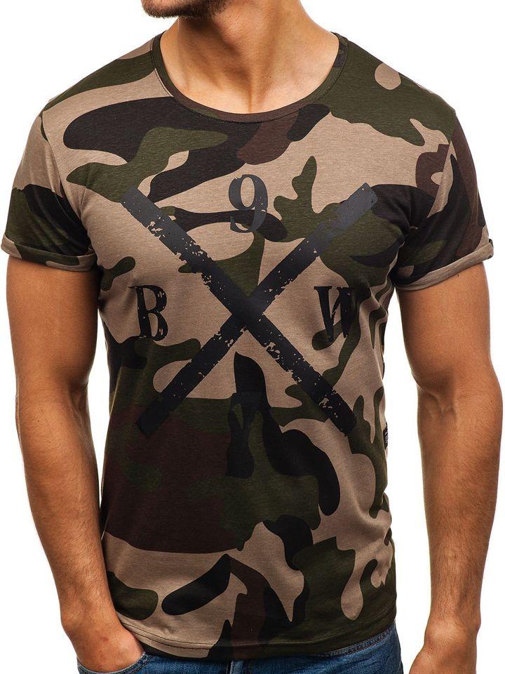 bff020bb0953 Maskáčovo-zelené pánské tričko s potiskem Bolf 1065