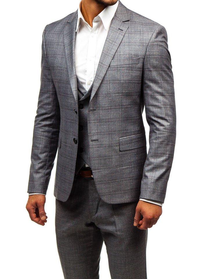 127879811b Šedý pánský oblek s vestou Bolf 18300