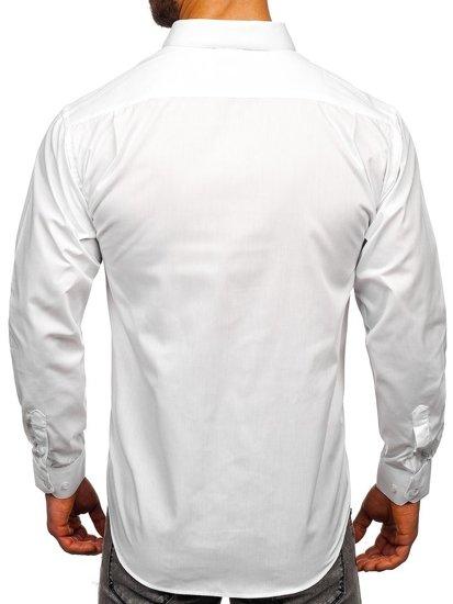 Bílá pánská elegantní košile s dlouhým rukávem Bolf 0003
