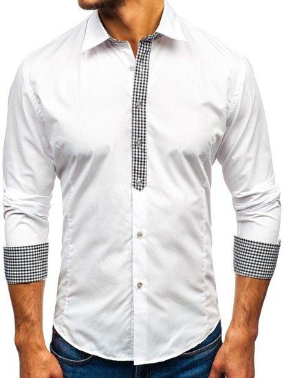 Bílá pánská elegantní košile s dlouhým rukávem Bolf 0939