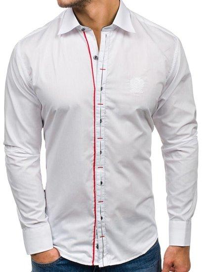 Bílá pánská elegantní košile s dlouhým rukávem Bolf 1769
