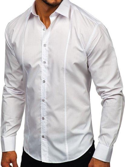 Bílá pánská elegantní košile s dlouhým rukávem Bolf 4705G