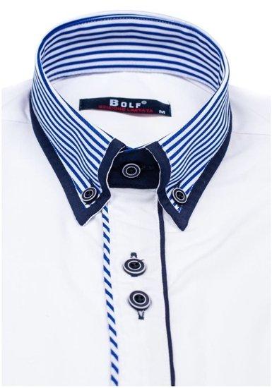 Bílá pánská elegantní košile s dlouhým rukávem Bolf 6936
