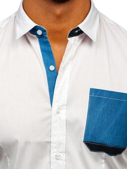 Bílá pánská elegantní košile s dlouhým rukávem Bolf 7192