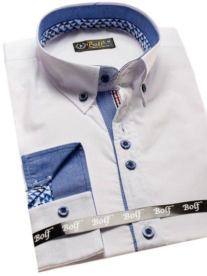 Bílá pánská elegantní košile s dlouhým rukávem Bolf 8838