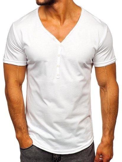 Bílé pánské tričko bez potisku Bolf 4049