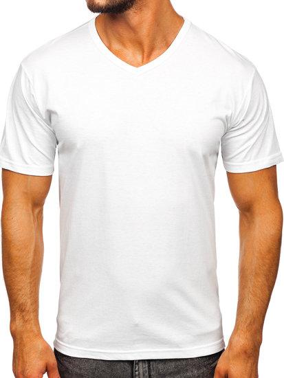 Bílé pánské tričko bez potisku s výstřihem do V Bolf 192131