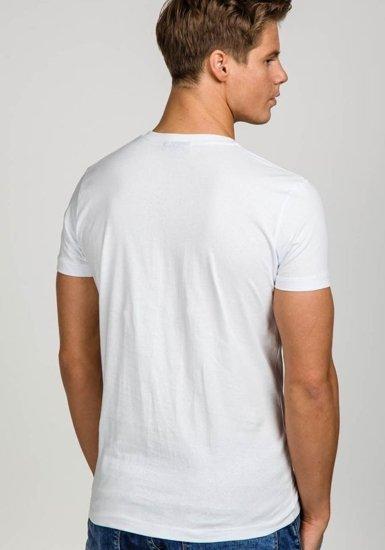 Bílé pánské tričko bez potisku s výstřihem do V Bolf T31