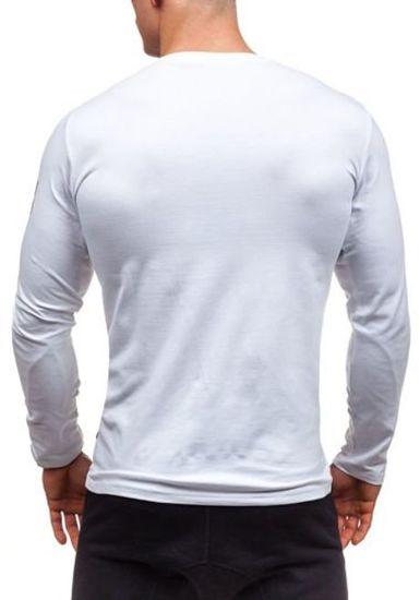 Bílé pánské tričko s dlouhým rukávem a potiskem Bolf 1935