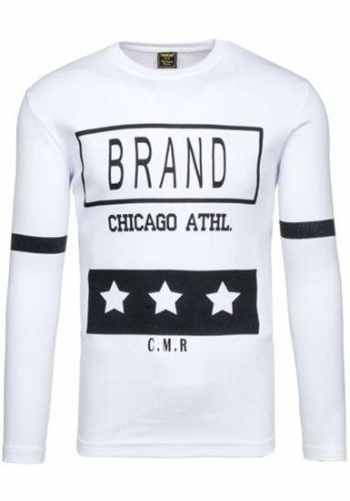 Bílé pánské tričko s dlouhým rukávem a potiskem Bolf 4634