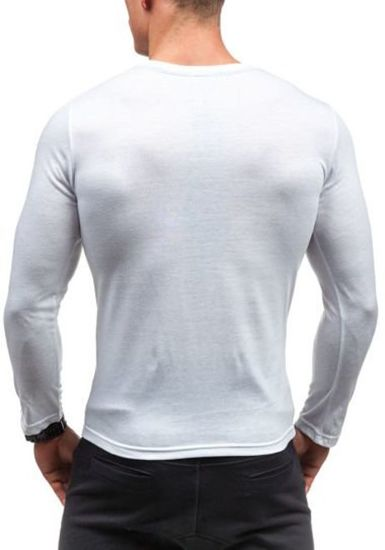 Bílé pánské tričko s dlouhým rukávem a potiskem Bolf 9994
