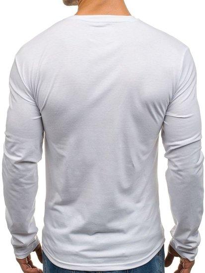 Bílé pánské tričko s dlouhým rukávem a potiskem Bolf SX049