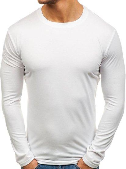 Bílé pánské tričko s dlouhým rukávem bez potisku Bolf 135