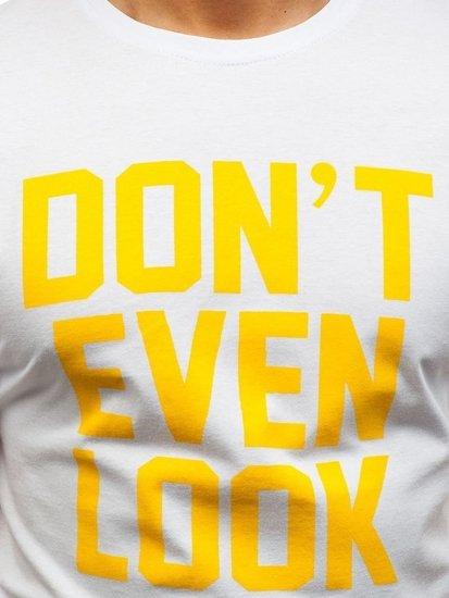Bílé pánské tričko s potiskem Bolf 6294