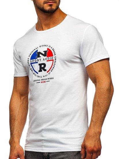 Bílé pánské tričko s potiskem Bolf SS11092
