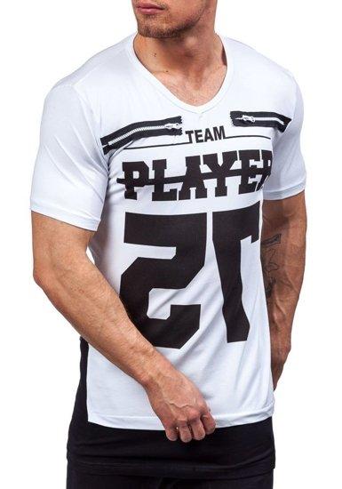 Bílé pánské tričko s potiskem s výstřihem do V Bolf 3584