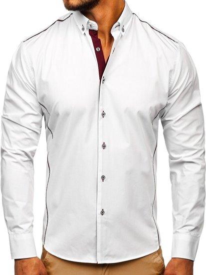 Bílo-vínová pánská elegantní košile s dlouhým rukávem Bolf 5722-1