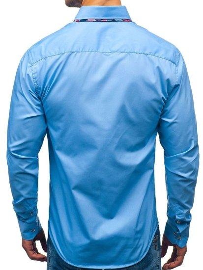 Blankytná pánská elegantní košile s dlouhým rukávem Bolf 2712