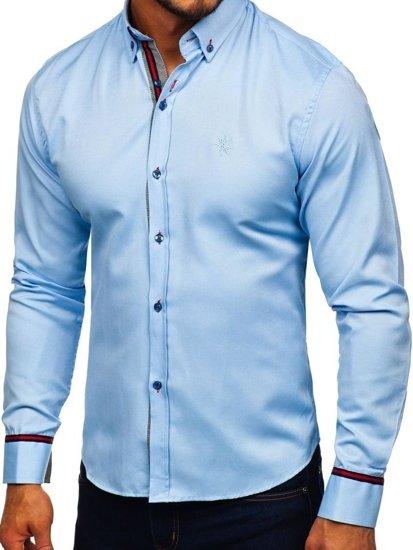 Blankytná pánská elegantní košile s dlouhým rukávem Bolf 5801-A