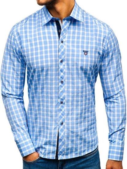 Blankytná pánská elegantní kostkovaná košile s dlouhým rukávem Bolf 4747