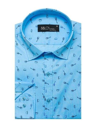 Blankytná pánská vzorovaná košile s dlouhým rukávem Bolf 201G24