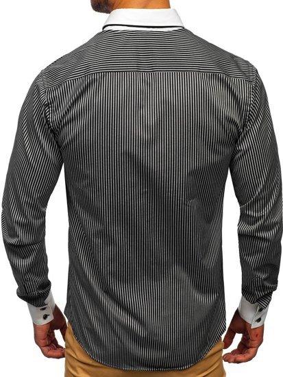 Černá elegantní pánská proužkovaná košile s dlouhým rukávem Bolf 0909-A