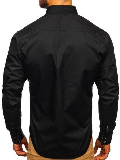 Černá pánská elegantní košile s dlouhým rukávem Bolf 0926