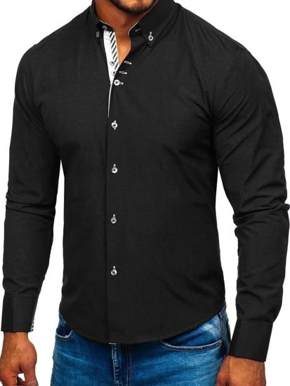 Černá pánská elegantní košile s dlouhým rukávem Bolf 5796-1