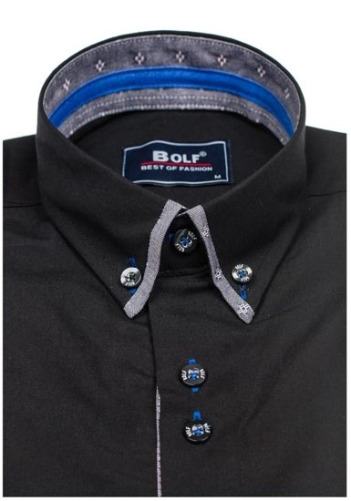 Černá pánská elegantní košile s dlouhým rukávem Bolf 6947