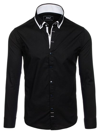Černá pánská elegantní košile s dlouhým rukávem Bolf 7713