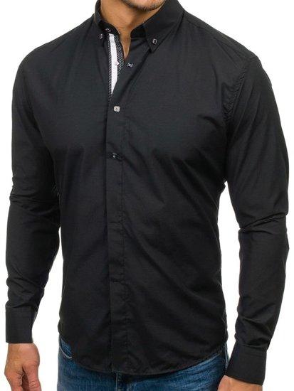 Černá pánská elegantní košile s dlouhým rukávem Bolf 7727