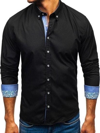 Černá pánská elegantní košile s dlouhým rukávem Bolf 8838