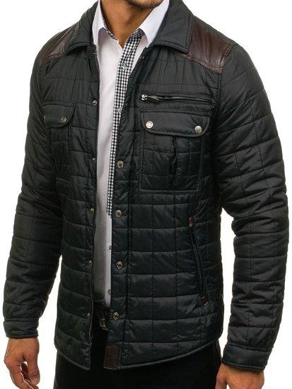 Černá pánská elegantní přechodová bunda Bolf 004