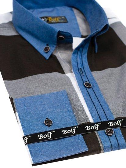 Černá pánská kostkovaná košile s dlouhým rukávem Bolf 7703