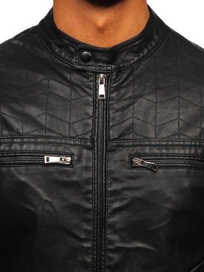 Černá pánská koženková bunda Bolf 1130