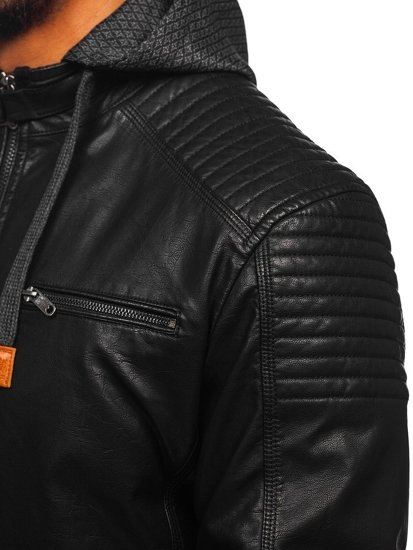 Černá pánská koženková bunda Bolf EX895
