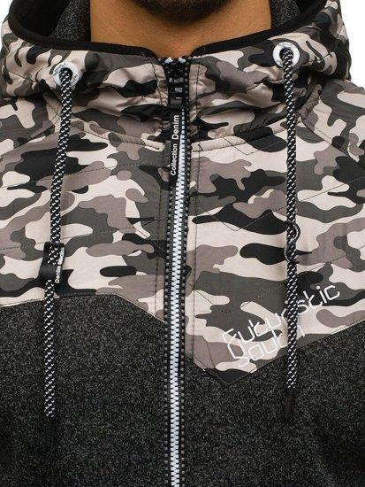 Černá pánská maskáčová mikina na zip s kapucí Bolf HH502