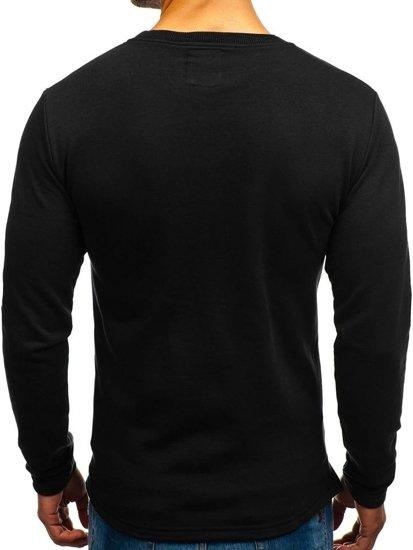 Černá pánská mikina bez kapuce s potiskem Bolf 9096