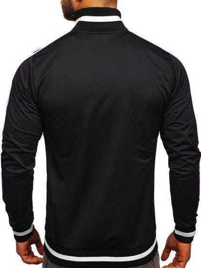 Černá pánská mikina na zip bez kapuce retro style Bolf 2126