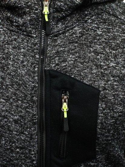 Černá pánská mikina na zip s kapucí Bolf AK48