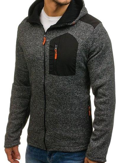 Černá pánská mikina na zip s kapucí Bolf W2919