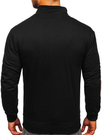 Černá pánská mikina na zip s potiskem bez kapuce Bolf JX9829