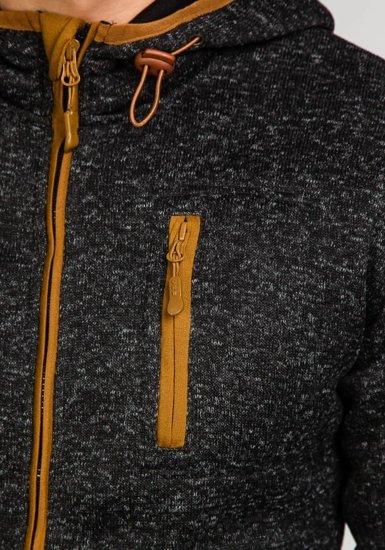 Černá pánská mikina s kapucí Bolf 3562A
