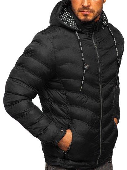 Černá pánská prošívaná sportovní zimní bunda Bolf 50A255