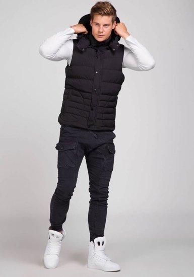 Černá pánská prošívaná vesta s kapucí Bolf 501