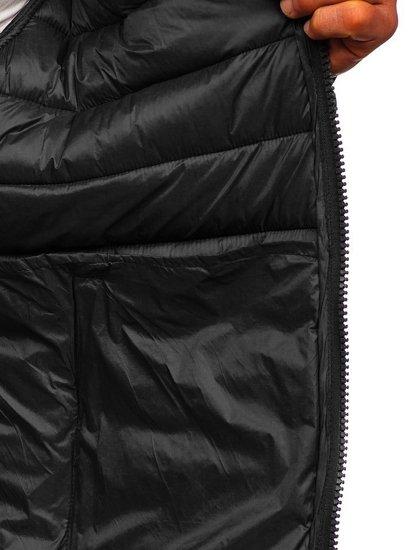 Černá pánská prošívaná zimní bunda Bolf 1119